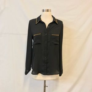 Forever 21 Black Sheer Button Down with Studs